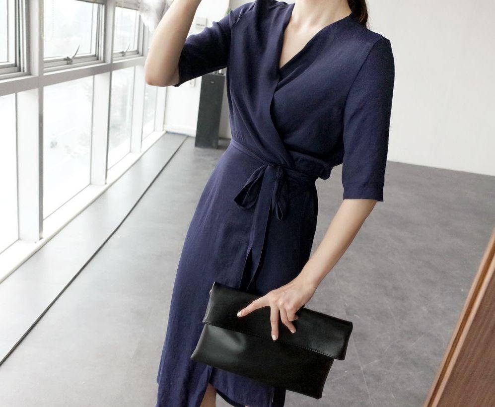 韓国 ファッション ワンピース 春 夏 カジュアル PTXB239  アシンメトリー ウエストマーク ラップ タイト オフィス パーティー オルチャン シンプル 定番 セレカジの写真15枚目