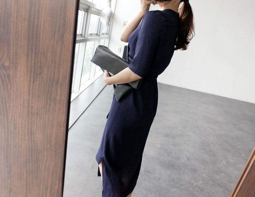 韓国 ファッション ワンピース 春 夏 カジュアル PTXB239  アシンメトリー ウエストマーク ラップ タイト オフィス パーティー オルチャン シンプル 定番 セレカジの写真16枚目