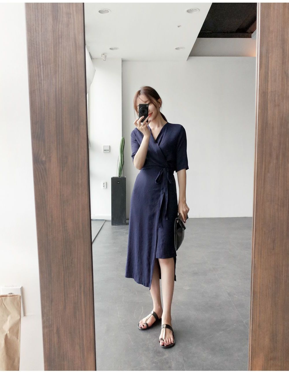韓国 ファッション ワンピース 春 夏 カジュアル PTXB239  アシンメトリー ウエストマーク ラップ タイト オフィス パーティー オルチャン シンプル 定番 セレカジの写真17枚目