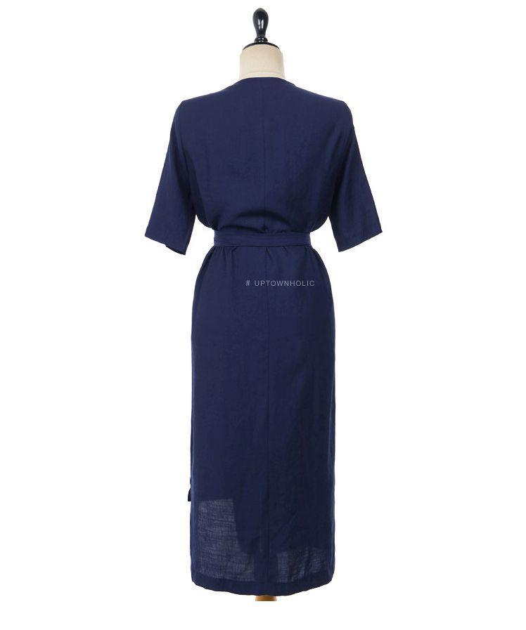韓国 ファッション ワンピース 春 夏 カジュアル PTXB239  アシンメトリー ウエストマーク ラップ タイト オフィス パーティー オルチャン シンプル 定番 セレカジの写真20枚目