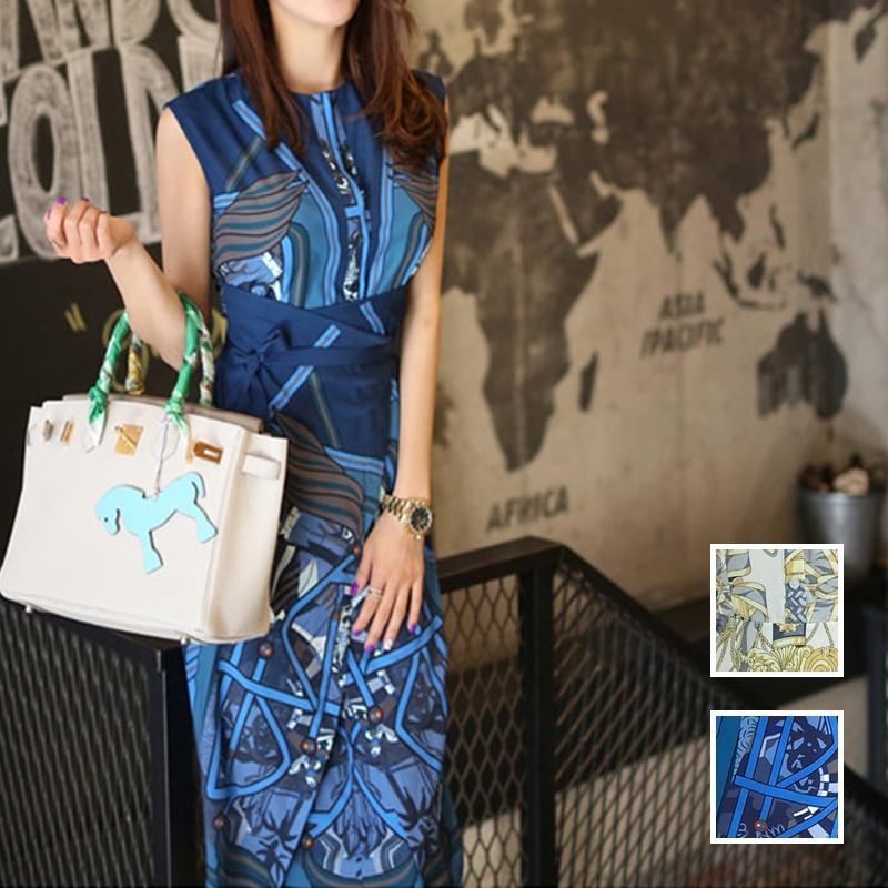 【即納】韓国 ファッション ワンピース パーティードレス ひざ丈 ミディアム 夏 春 パーティー ブライダル SPTXB517 結婚式 お呼ばれ ゴージャス レトロ スカーフ 二次会 セレブ きれいめの写真1枚目
