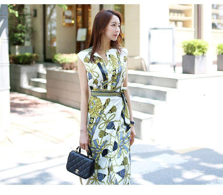 【即納】韓国 ファッション ワンピース パーティードレス ひざ丈 ミディアム 夏 春 パーティー ブライダル SPTXB517 結婚式 お呼ばれ ゴージャス レトロ スカーフ 二次会 セレブ きれいめの写真2枚目