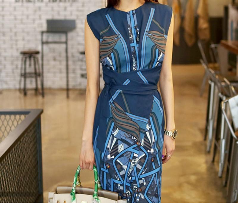 【即納】韓国 ファッション ワンピース パーティードレス ひざ丈 ミディアム 夏 春 パーティー ブライダル SPTXB517 結婚式 お呼ばれ ゴージャス レトロ スカーフ 二次会 セレブ きれいめの写真3枚目