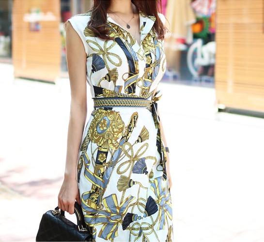 【即納】韓国 ファッション ワンピース パーティードレス ひざ丈 ミディアム 夏 春 パーティー ブライダル SPTXB517 結婚式 お呼ばれ ゴージャス レトロ スカーフ 二次会 セレブ きれいめの写真7枚目