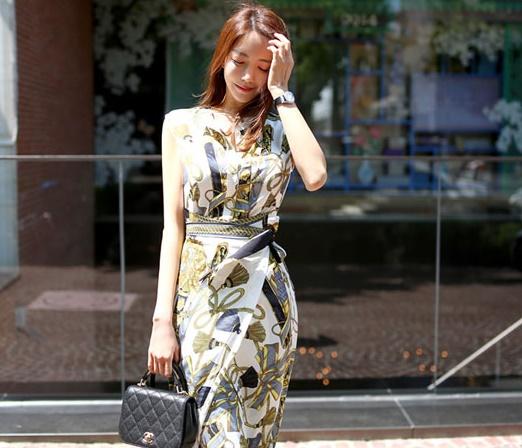 【即納】韓国 ファッション ワンピース パーティードレス ひざ丈 ミディアム 夏 春 パーティー ブライダル SPTXB517 結婚式 お呼ばれ ゴージャス レトロ スカーフ 二次会 セレブ きれいめの写真8枚目