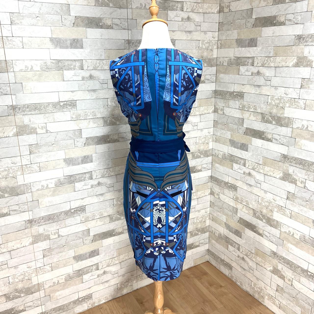 【即納】韓国 ファッション ワンピース パーティードレス ひざ丈 ミディアム 夏 春 パーティー ブライダル SPTXB517 結婚式 お呼ばれ ゴージャス レトロ スカーフ 二次会 セレブ きれいめの写真11枚目