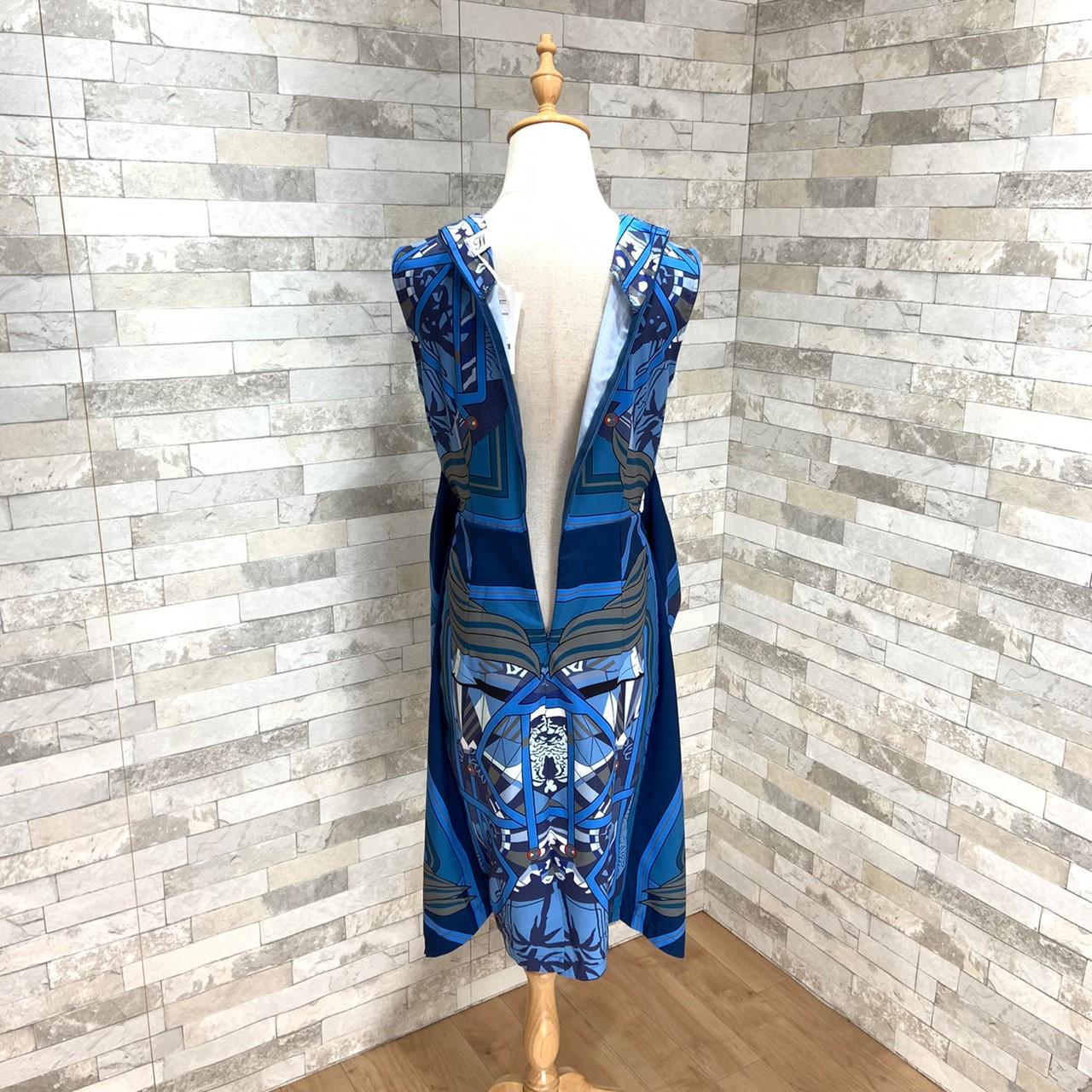 【即納】韓国 ファッション ワンピース パーティードレス ひざ丈 ミディアム 夏 春 パーティー ブライダル SPTXB517 結婚式 お呼ばれ ゴージャス レトロ スカーフ 二次会 セレブ きれいめの写真13枚目