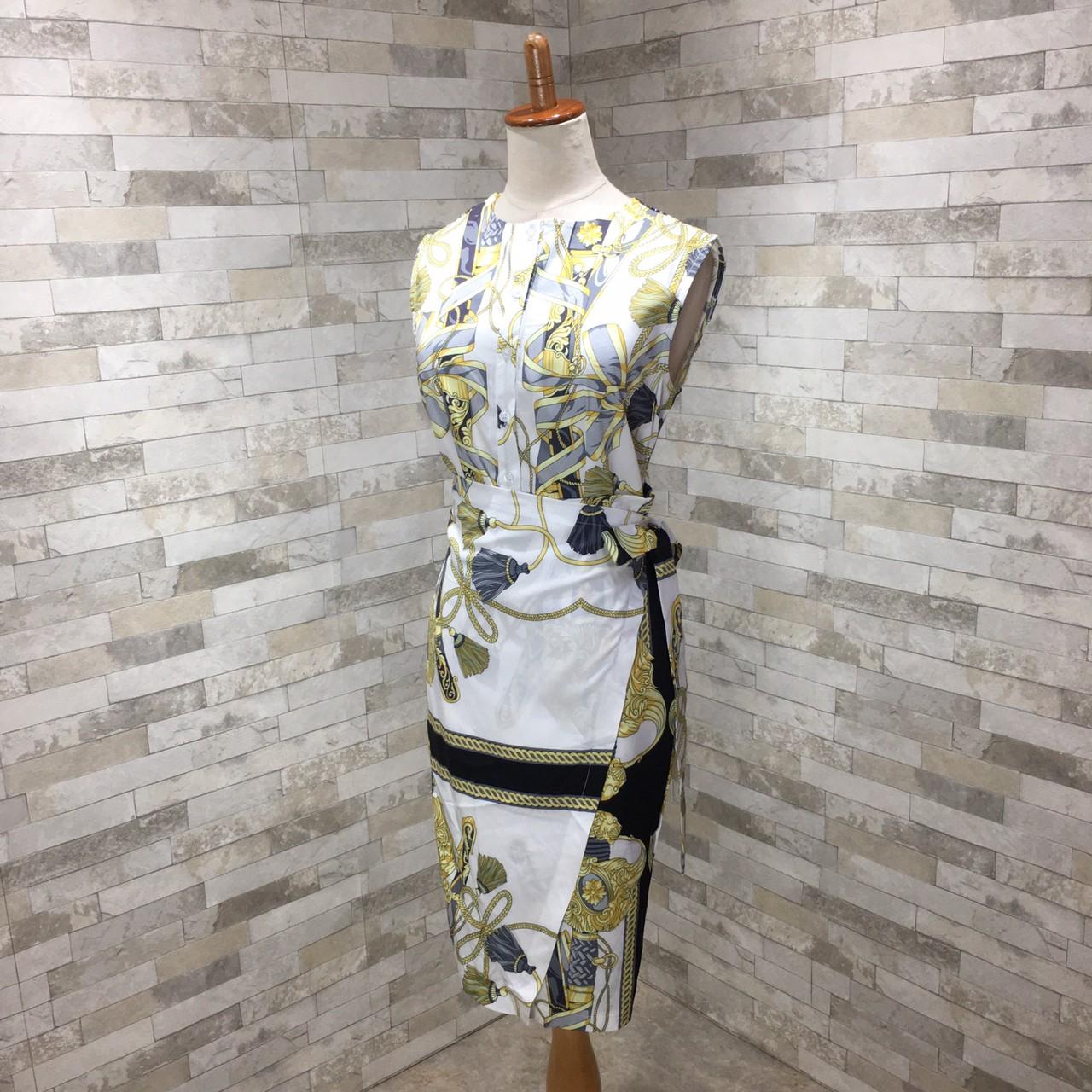 【即納】韓国 ファッション ワンピース パーティードレス ひざ丈 ミディアム 夏 春 パーティー ブライダル SPTXB517 結婚式 お呼ばれ ゴージャス レトロ スカーフ 二次会 セレブ きれいめの写真16枚目