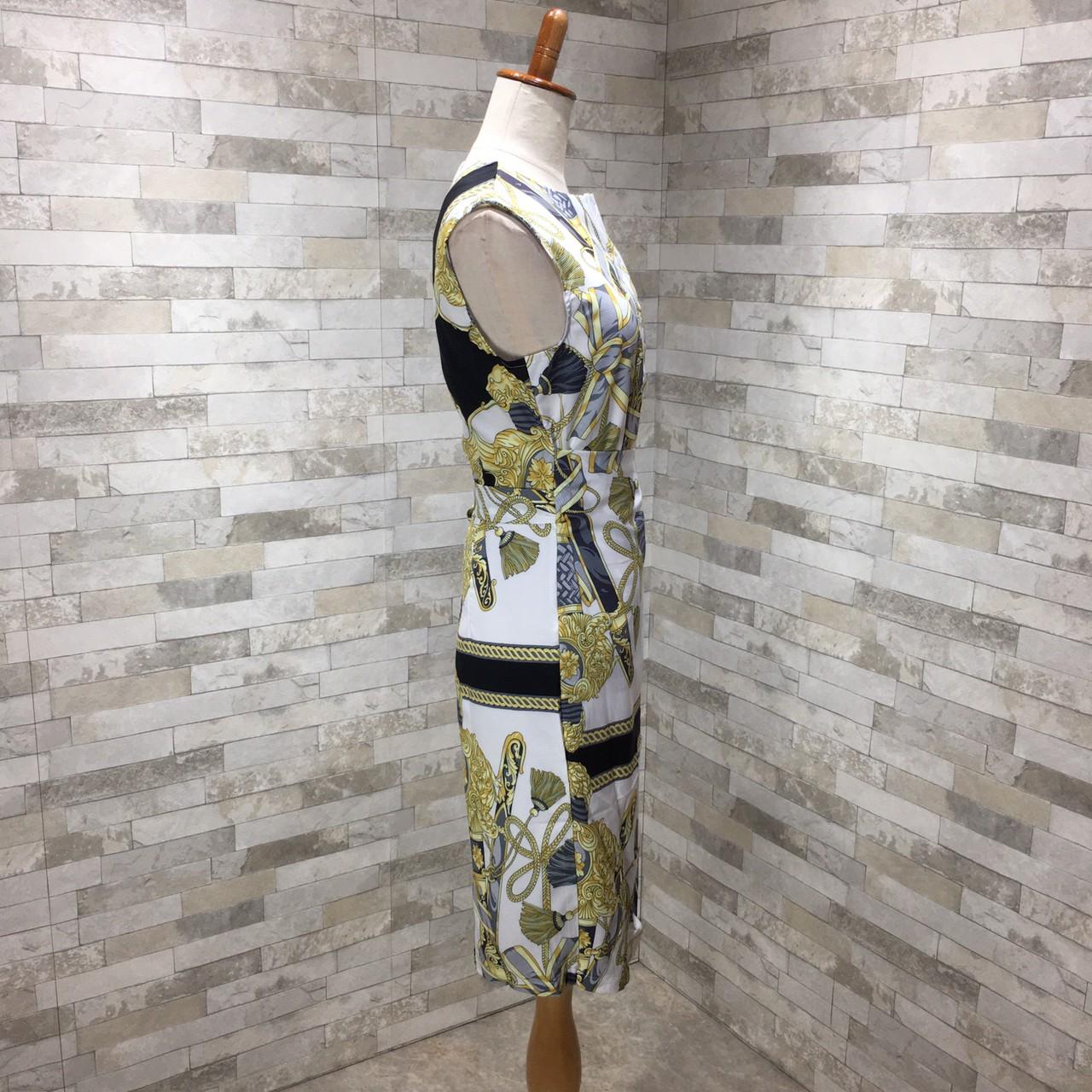 【即納】韓国 ファッション ワンピース パーティードレス ひざ丈 ミディアム 夏 春 パーティー ブライダル SPTXB517 結婚式 お呼ばれ ゴージャス レトロ スカーフ 二次会 セレブ きれいめの写真18枚目