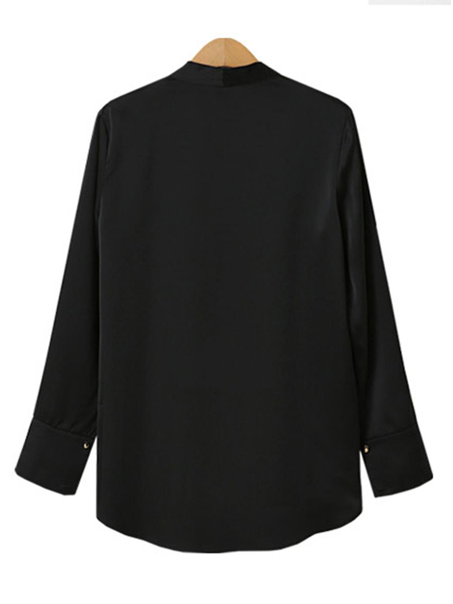 「華やかクールに」大胆深Vネックの大人ドレスシャツ 夏 春 PTXB613の写真4枚目