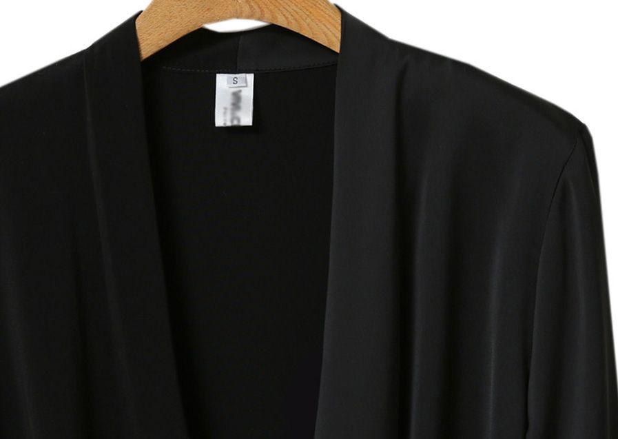 「華やかクールに」大胆深Vネックの大人ドレスシャツ 夏 春 PTXB613の写真5枚目