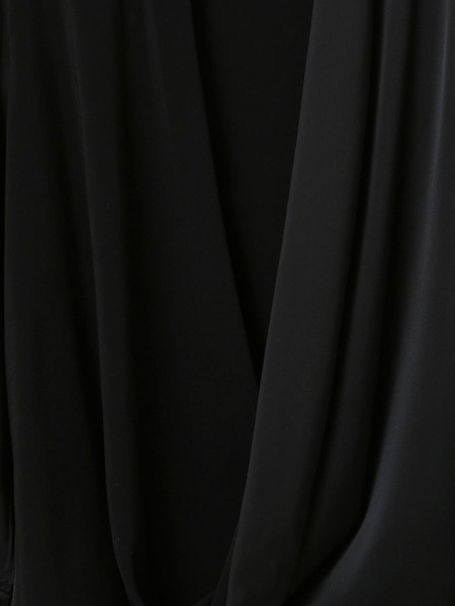 「華やかクールに」大胆深Vネックの大人ドレスシャツ 夏 春 PTXB613の写真7枚目