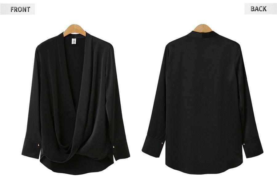 「華やかクールに」大胆深Vネックの大人ドレスシャツ 夏 春 PTXB613の写真8枚目