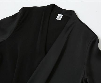 「華やかクールに」大胆深Vネックの大人ドレスシャツ 夏 春 PTXB613の写真9枚目