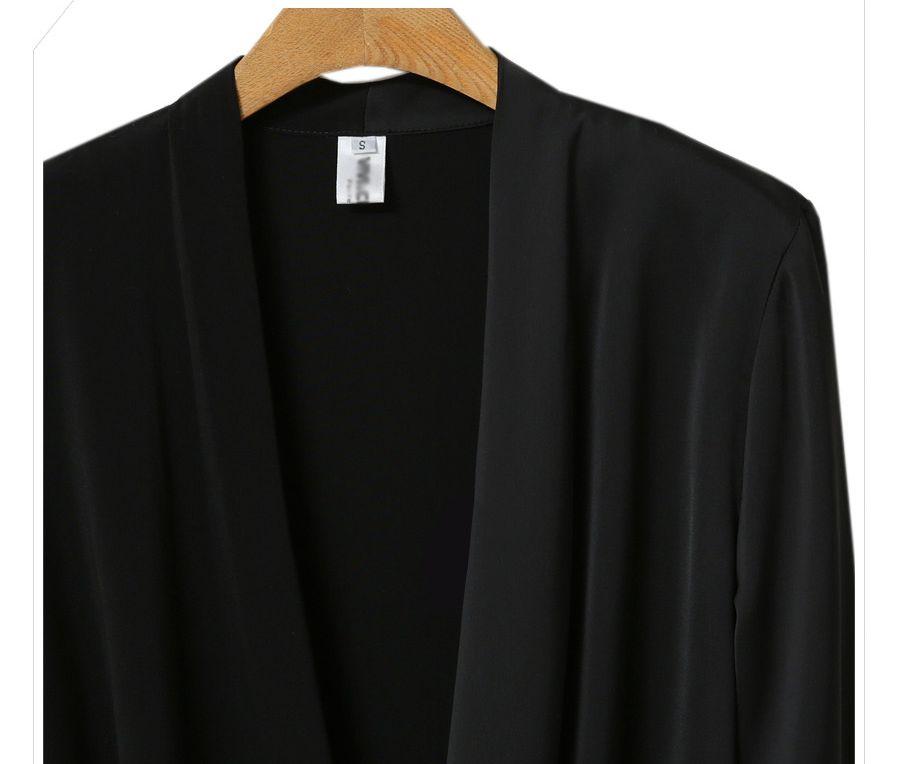 「華やかクールに」大胆深Vネックの大人ドレスシャツ 夏 春 PTXB613の写真14枚目