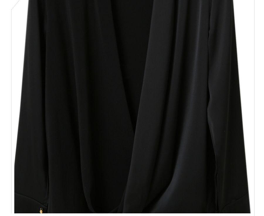 「華やかクールに」大胆深Vネックの大人ドレスシャツ 夏 春 PTXB613の写真15枚目