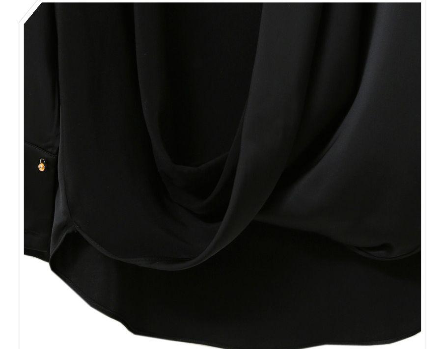 「華やかクールに」大胆深Vネックの大人ドレスシャツ 夏 春 PTXB613の写真17枚目