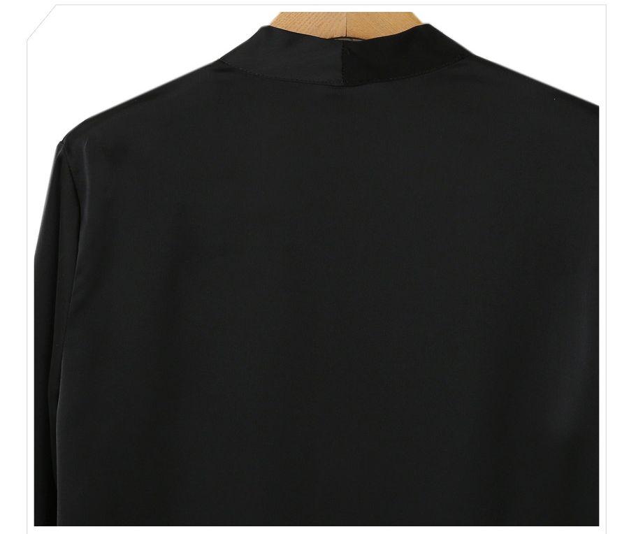 「華やかクールに」大胆深Vネックの大人ドレスシャツ 夏 春 PTXB613の写真18枚目