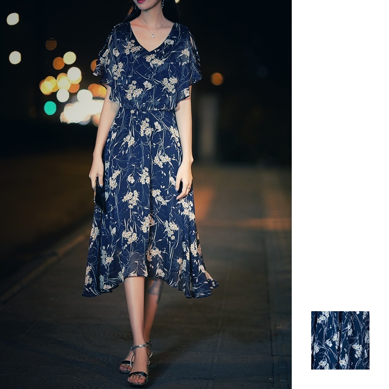 【即納】韓国 ファッション ワンピース 夏 春 カジュアル SPTXB696  マキシワンピース リゾートワンピース ハワイ ケープ風袖 スリット イレギュラーヘ オルチャン シンプル 定番 セレカジの写真1枚目