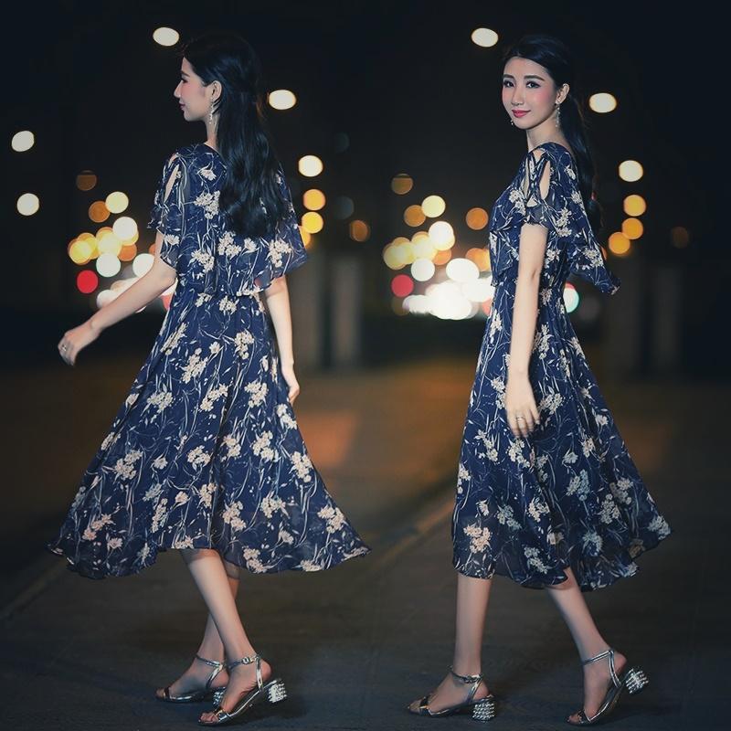 【即納】韓国 ファッション ワンピース 夏 春 カジュアル SPTXB696  マキシワンピース リゾートワンピース ハワイ ケープ風袖 スリット イレギュラーヘ オルチャン シンプル 定番 セレカジの写真3枚目