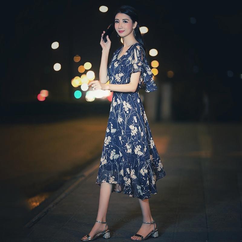 【即納】韓国 ファッション ワンピース 夏 春 カジュアル SPTXB696  マキシワンピース リゾートワンピース ハワイ ケープ風袖 スリット イレギュラーヘ オルチャン シンプル 定番 セレカジの写真4枚目