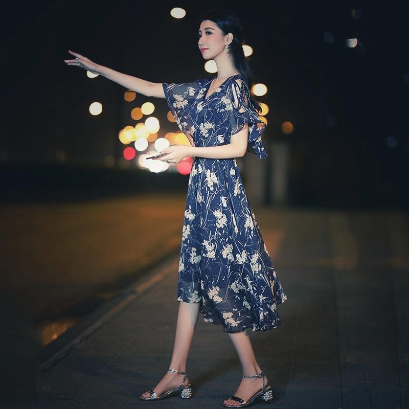 【即納】韓国 ファッション ワンピース 夏 春 カジュアル SPTXB696  マキシワンピース リゾートワンピース ハワイ ケープ風袖 スリット イレギュラーヘ オルチャン シンプル 定番 セレカジの写真5枚目