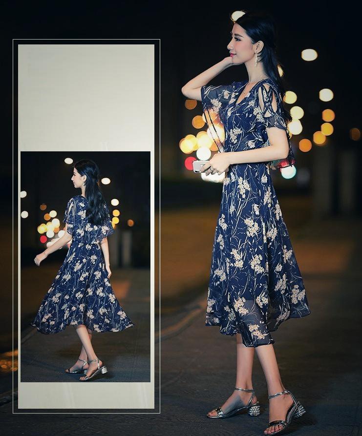 【即納】韓国 ファッション ワンピース 夏 春 カジュアル SPTXB696  マキシワンピース リゾートワンピース ハワイ ケープ風袖 スリット イレギュラーヘ オルチャン シンプル 定番 セレカジの写真8枚目