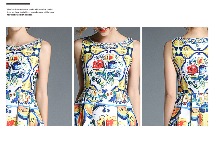 韓国 ファッション ワンピース パーティードレス ひざ丈 ミディアム 春 夏 パーティー ブライダル PTXB967 結婚式 お呼ばれ ノースリーブ ブロック柄 スカーフ柄  二次会 セレブ きれいめの写真4枚目