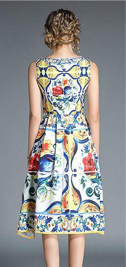 韓国 ファッション ワンピース パーティードレス ひざ丈 ミディアム 春 夏 パーティー ブライダル PTXB967 結婚式 お呼ばれ ノースリーブ ブロック柄 スカーフ柄  二次会 セレブ きれいめの写真7枚目