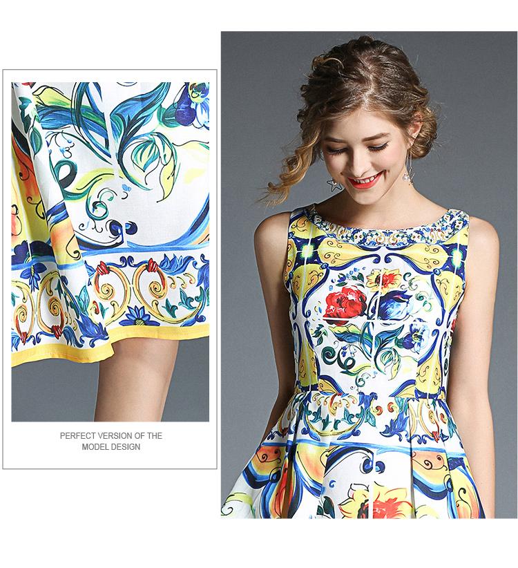 韓国 ファッション ワンピース パーティードレス ひざ丈 ミディアム 春 夏 パーティー ブライダル PTXB967 結婚式 お呼ばれ ノースリーブ ブロック柄 スカーフ柄  二次会 セレブ きれいめの写真8枚目