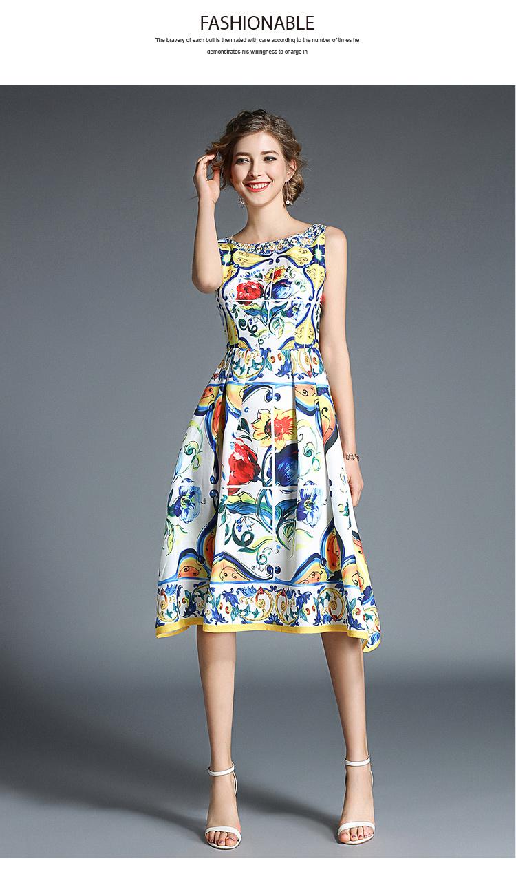 韓国 ファッション ワンピース パーティードレス ひざ丈 ミディアム 春 夏 パーティー ブライダル PTXB967 結婚式 お呼ばれ ノースリーブ ブロック柄 スカーフ柄  二次会 セレブ きれいめの写真10枚目
