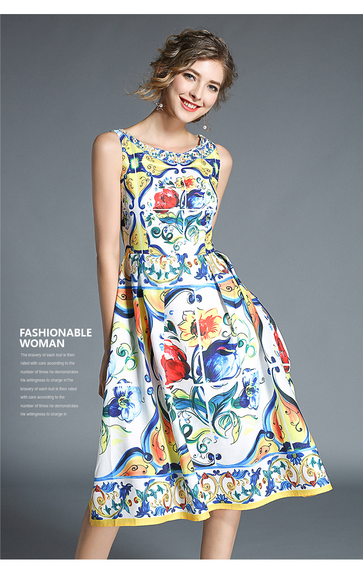 韓国 ファッション ワンピース パーティードレス ひざ丈 ミディアム 春 夏 パーティー ブライダル PTXB967 結婚式 お呼ばれ ノースリーブ ブロック柄 スカーフ柄  二次会 セレブ きれいめの写真11枚目