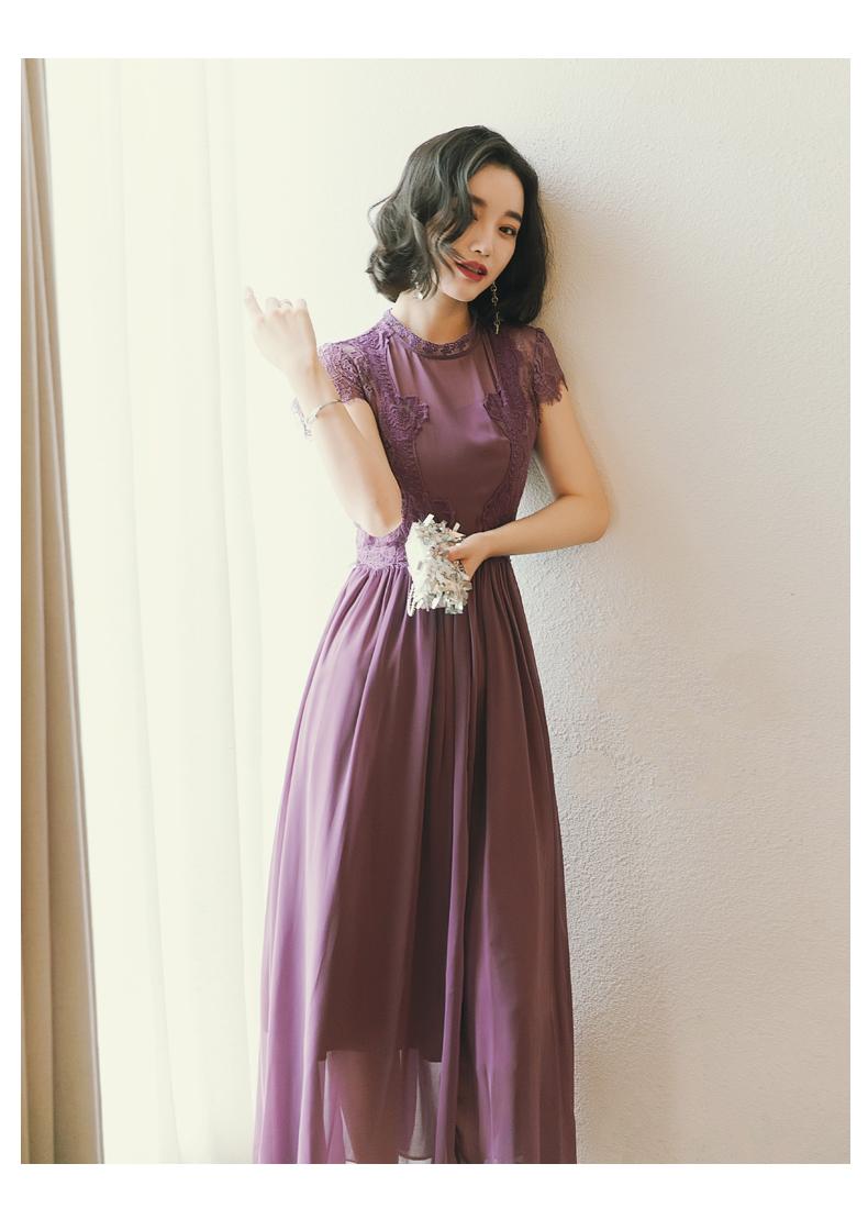 【即納】韓国 ファッション ワンピース パーティードレス ロング マキシ 夏 春 パーティー ブライダル SPTXC058 結婚式 お呼ばれ シアー レース ハイネック ドレ 二次会 セレブ きれいめの写真8枚目