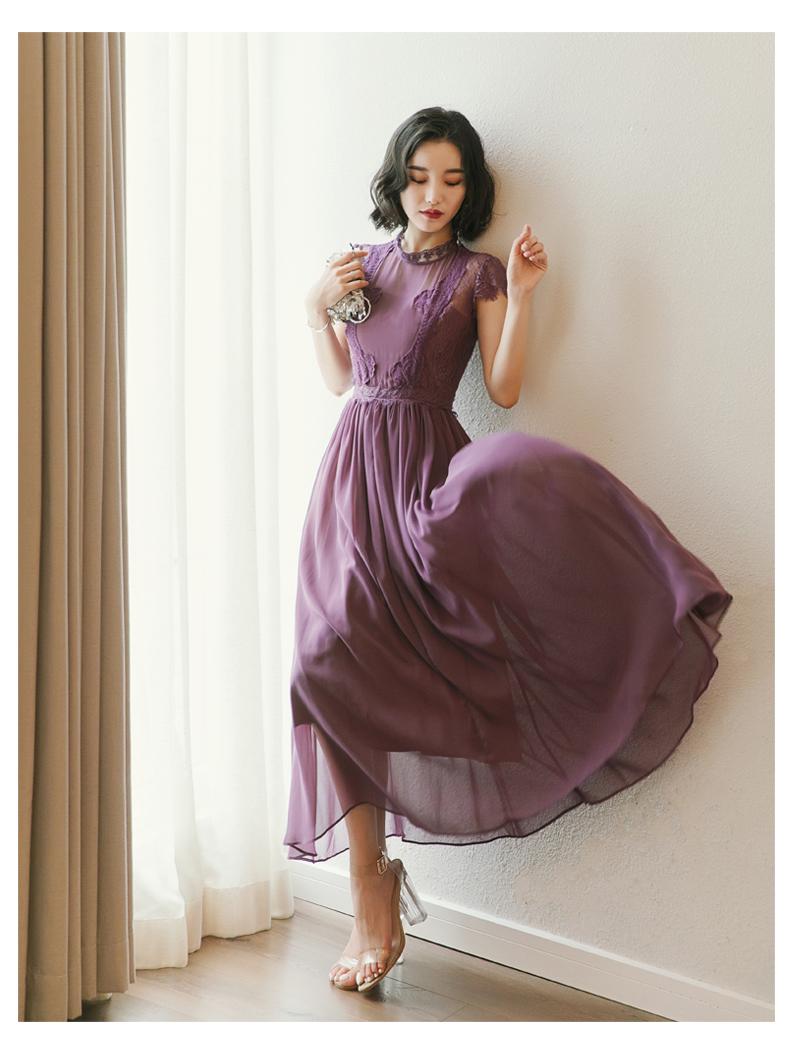 【即納】韓国 ファッション ワンピース パーティードレス ロング マキシ 夏 春 パーティー ブライダル SPTXC058 結婚式 お呼ばれ シアー レース ハイネック ドレ 二次会 セレブ きれいめの写真9枚目