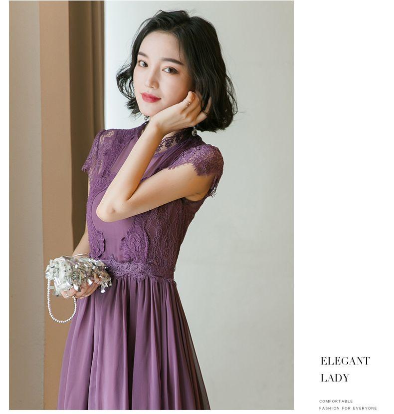 【即納】韓国 ファッション ワンピース パーティードレス ロング マキシ 夏 春 パーティー ブライダル SPTXC058 結婚式 お呼ばれ シアー レース ハイネック ドレ 二次会 セレブ きれいめの写真11枚目