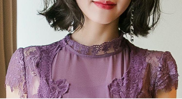 【即納】韓国 ファッション ワンピース パーティードレス ロング マキシ 夏 春 パーティー ブライダル SPTXC058 結婚式 お呼ばれ シアー レース ハイネック ドレ 二次会 セレブ きれいめの写真12枚目