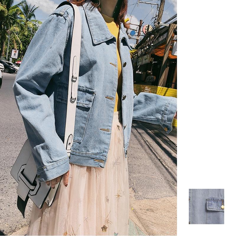 韓国 ファッション アウター ブルゾン 春 秋 冬 カジュアル PTXC258  デニム ジーンズ 古着風 ヴィンテージ風 Gジャン ジャンパー オルチャン シンプル 定番 セレカジの写真1枚目