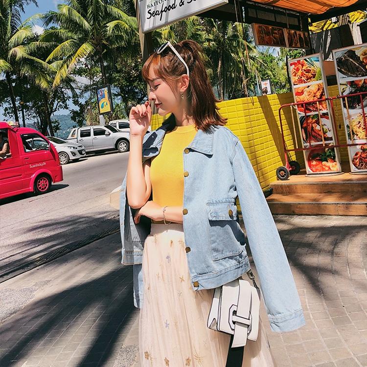 韓国 ファッション アウター ブルゾン 春 秋 冬 カジュアル PTXC258  デニム ジーンズ 古着風 ヴィンテージ風 Gジャン ジャンパー オルチャン シンプル 定番 セレカジの写真2枚目