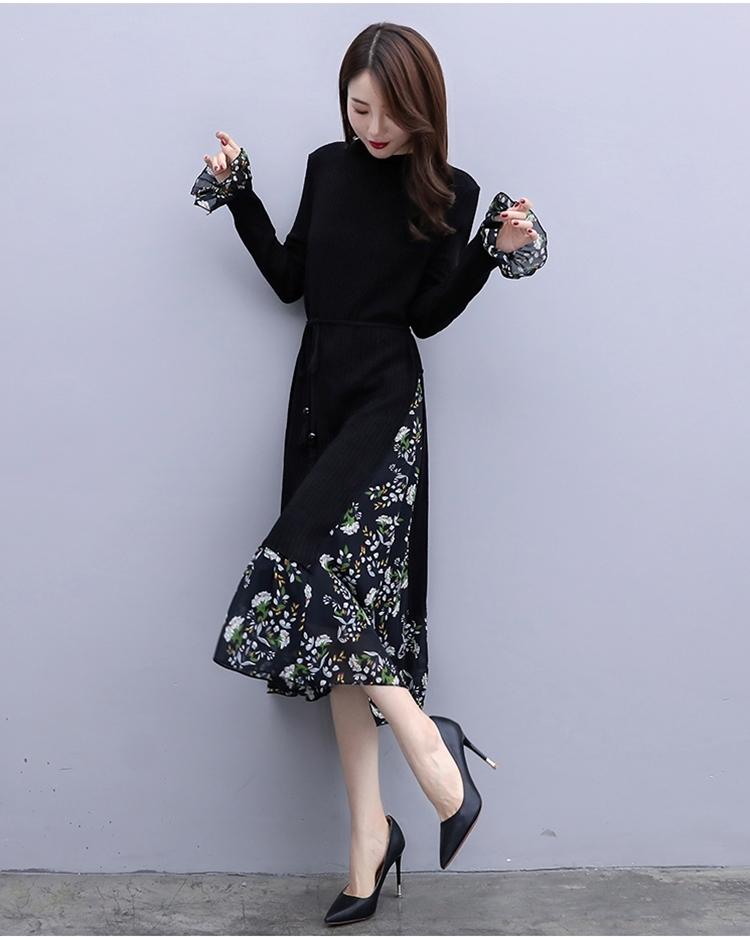 韓国 ファッション ワンピース パーティードレス ひざ丈 ミディアム 秋 冬 春 パーティー ブライダル PTXC498 結婚式 お呼ばれ ハイネック リブニット シフォン風 二次会 セレブ きれいめの写真6枚目