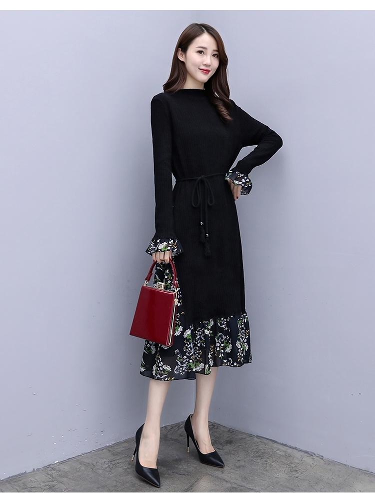 韓国 ファッション ワンピース パーティードレス ひざ丈 ミディアム 秋 冬 春 パーティー ブライダル PTXC498 結婚式 お呼ばれ ハイネック リブニット シフォン風 二次会 セレブ きれいめの写真7枚目