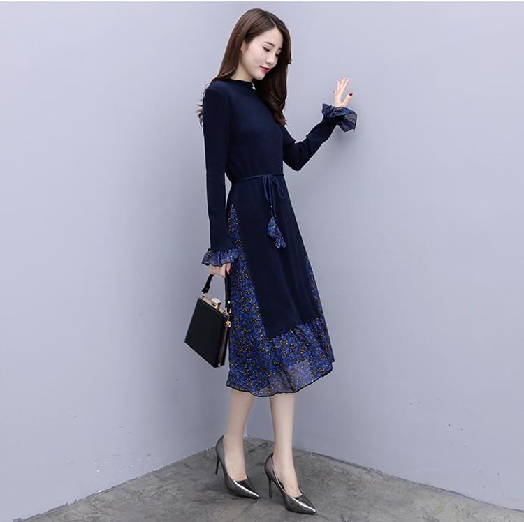 韓国 ファッション ワンピース パーティードレス ひざ丈 ミディアム 秋 冬 春 パーティー ブライダル PTXC498 結婚式 お呼ばれ ハイネック リブニット シフォン風 二次会 セレブ きれいめの写真8枚目