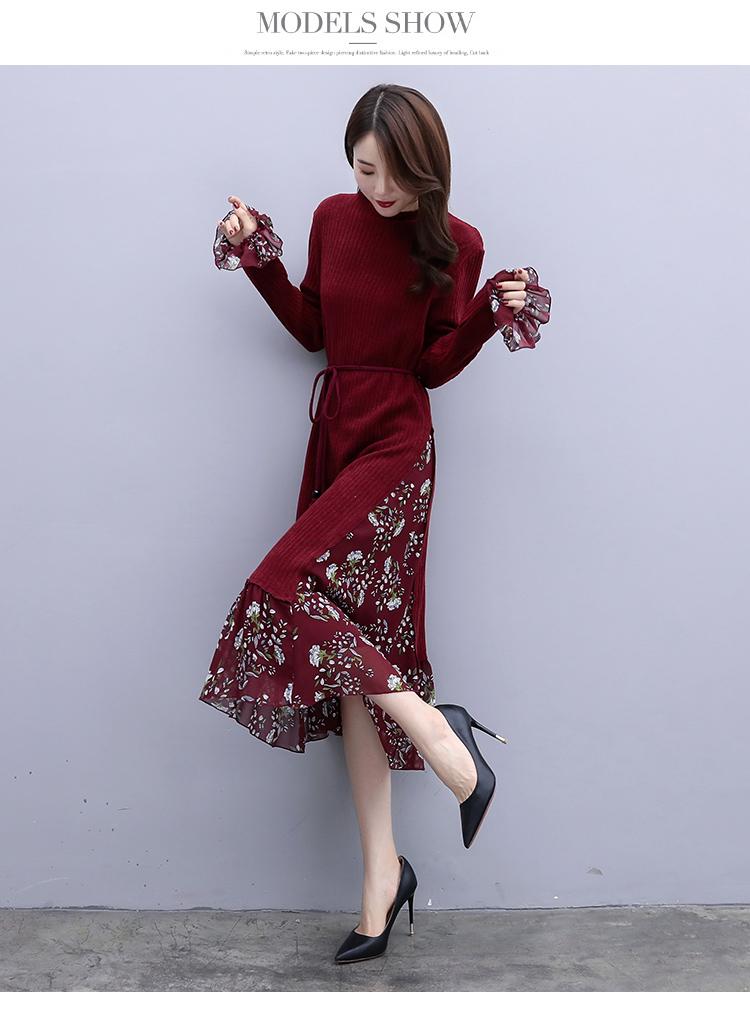 韓国 ファッション ワンピース パーティードレス ひざ丈 ミディアム 秋 冬 春 パーティー ブライダル PTXC498 結婚式 お呼ばれ ハイネック リブニット シフォン風 二次会 セレブ きれいめの写真10枚目