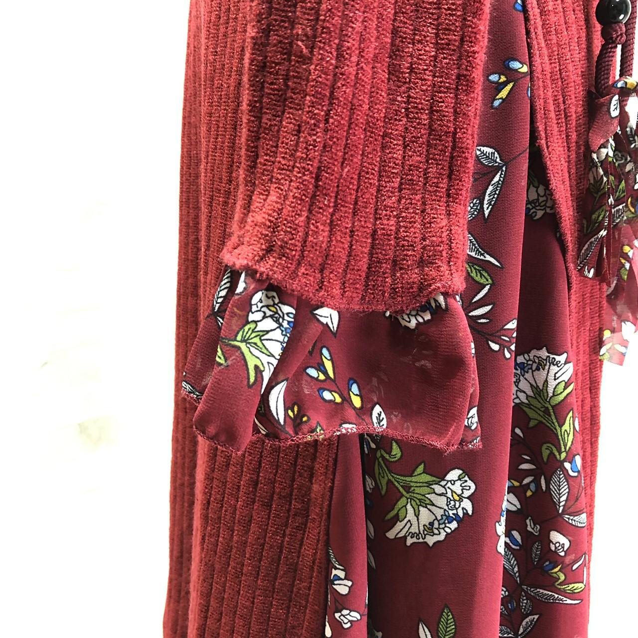 韓国 ファッション ワンピース パーティードレス ひざ丈 ミディアム 秋 冬 春 パーティー ブライダル PTXC498 結婚式 お呼ばれ ハイネック リブニット シフォン風 二次会 セレブ きれいめの写真15枚目