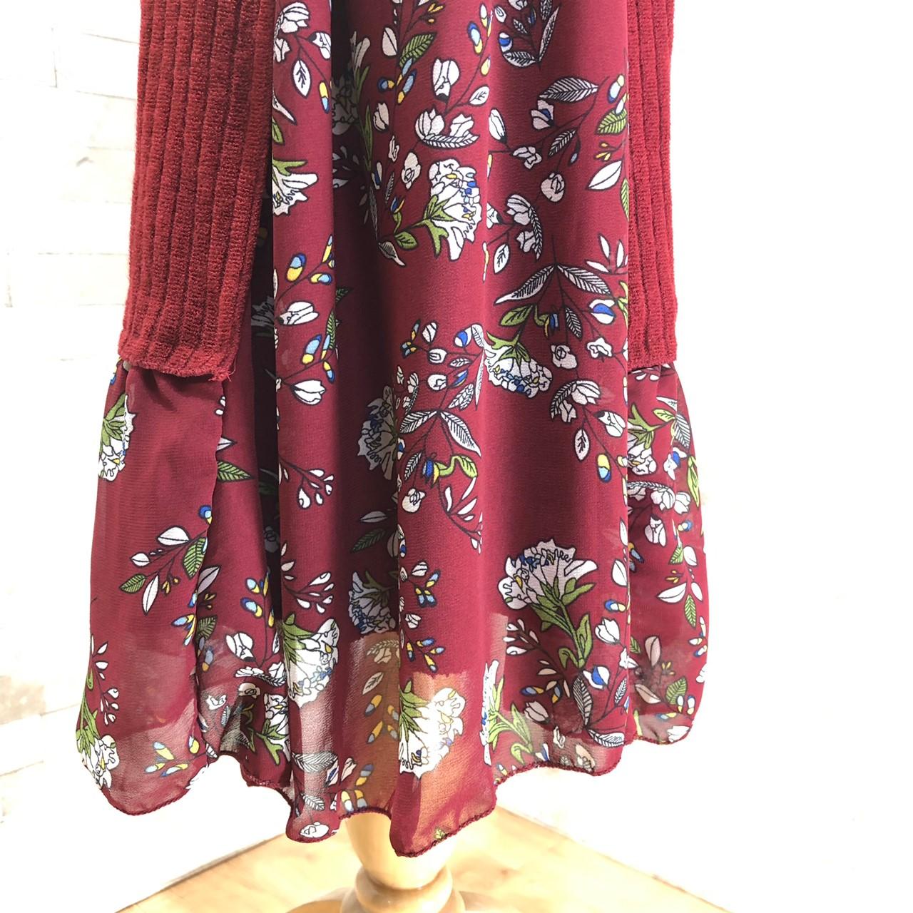 韓国 ファッション ワンピース パーティードレス ひざ丈 ミディアム 秋 冬 春 パーティー ブライダル PTXC498 結婚式 お呼ばれ ハイネック リブニット シフォン風 二次会 セレブ きれいめの写真16枚目