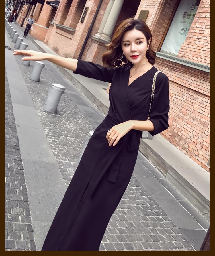 【即納】韓国 ファッション ワンピース パーティードレス ロング マキシ 秋 冬 パーティー ブライダル SPTXC523 結婚式 お呼ばれ ラップ ドレープ ウエストマーク 二次会 セレブ きれいめの写真10枚目