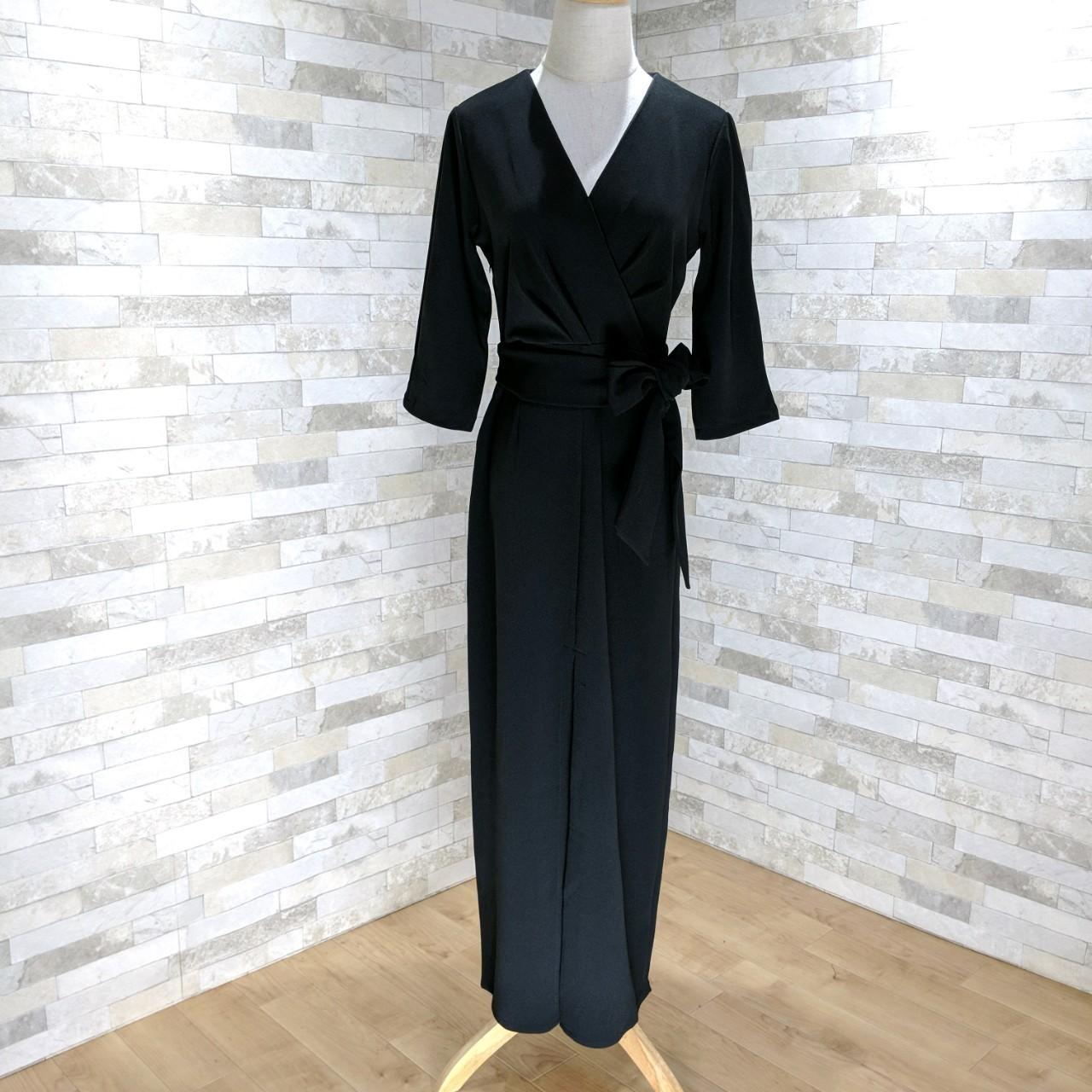 【即納】韓国 ファッション ワンピース パーティードレス ロング マキシ 秋 冬 パーティー ブライダル SPTXC523 結婚式 お呼ばれ ラップ ドレープ ウエストマーク 二次会 セレブ きれいめの写真11枚目