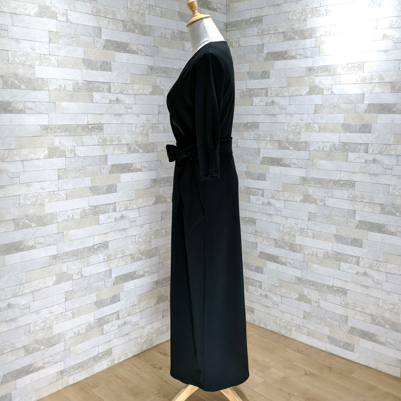 【即納】韓国 ファッション ワンピース パーティードレス ロング マキシ 秋 冬 パーティー ブライダル SPTXC523 結婚式 お呼ばれ ラップ ドレープ ウエストマーク 二次会 セレブ きれいめの写真13枚目