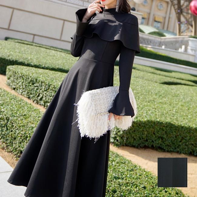【即納】韓国 ファッション ワンピース パーティードレス ロング マキシ 秋 冬 パーティー ブライダル SPTXC533 結婚式 お呼ばれ ハイネック オフショルダー風 ベ 二次会 セレブ きれいめの写真1枚目