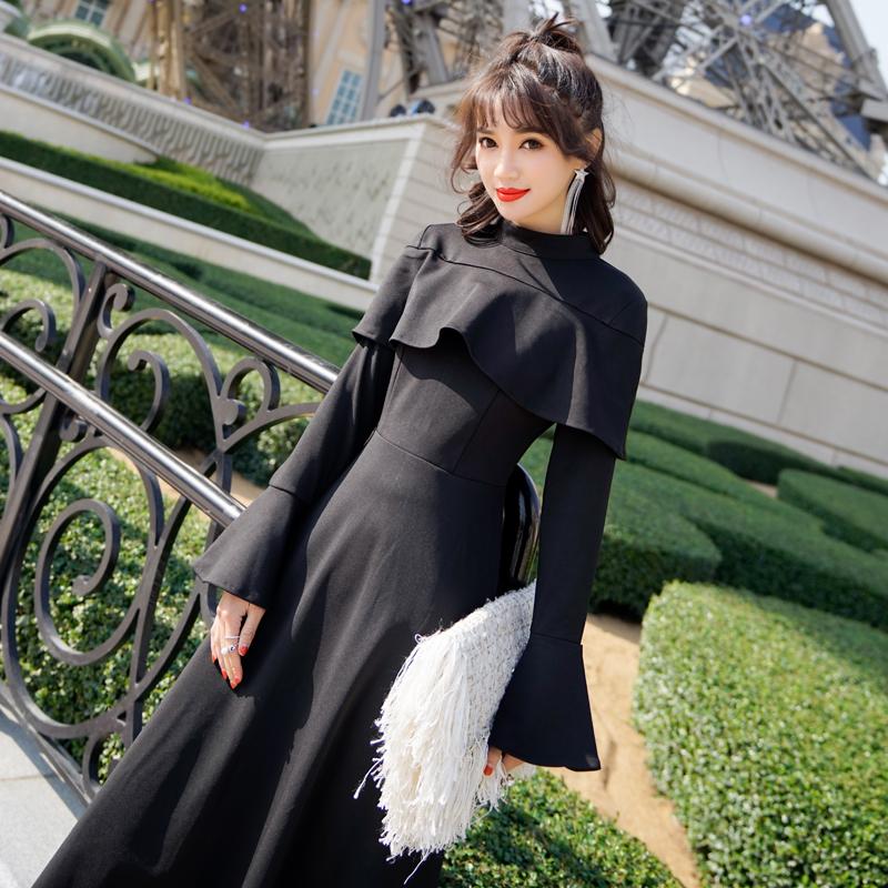 【即納】韓国 ファッション ワンピース パーティードレス ロング マキシ 秋 冬 パーティー ブライダル SPTXC533 結婚式 お呼ばれ ハイネック オフショルダー風 ベ 二次会 セレブ きれいめの写真2枚目