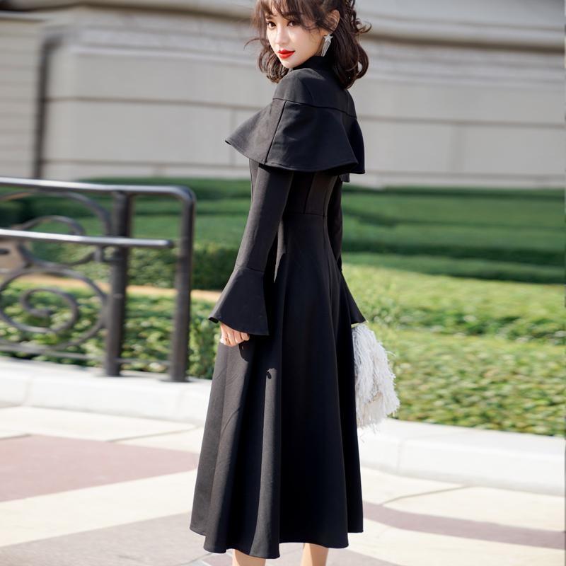 【即納】韓国 ファッション ワンピース パーティードレス ロング マキシ 秋 冬 パーティー ブライダル SPTXC533 結婚式 お呼ばれ ハイネック オフショルダー風 ベ 二次会 セレブ きれいめの写真4枚目